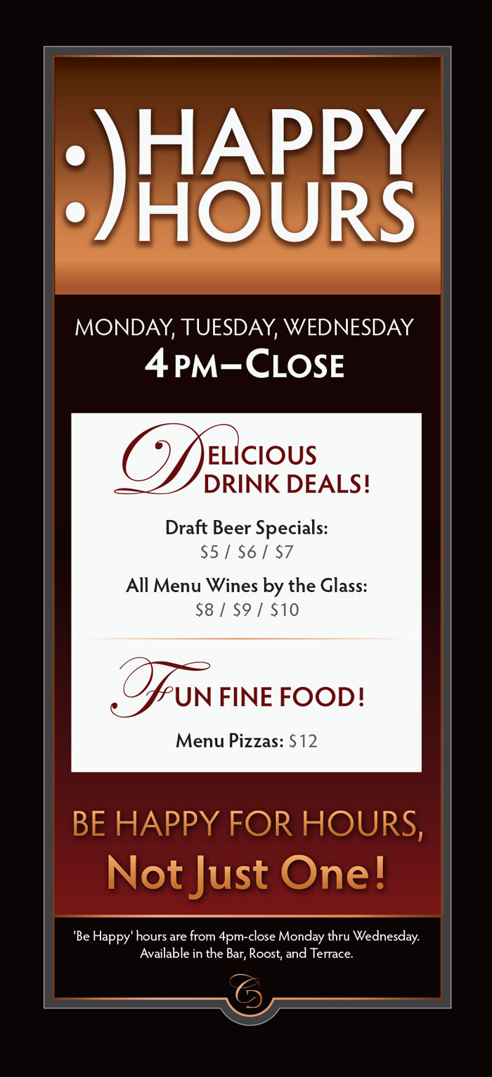 Copper Door® Happy Hours Menu